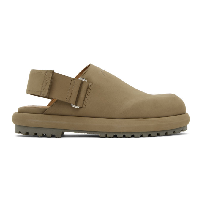 Photo: Jacquemus Khaki Nubuck Les Mules Shoes