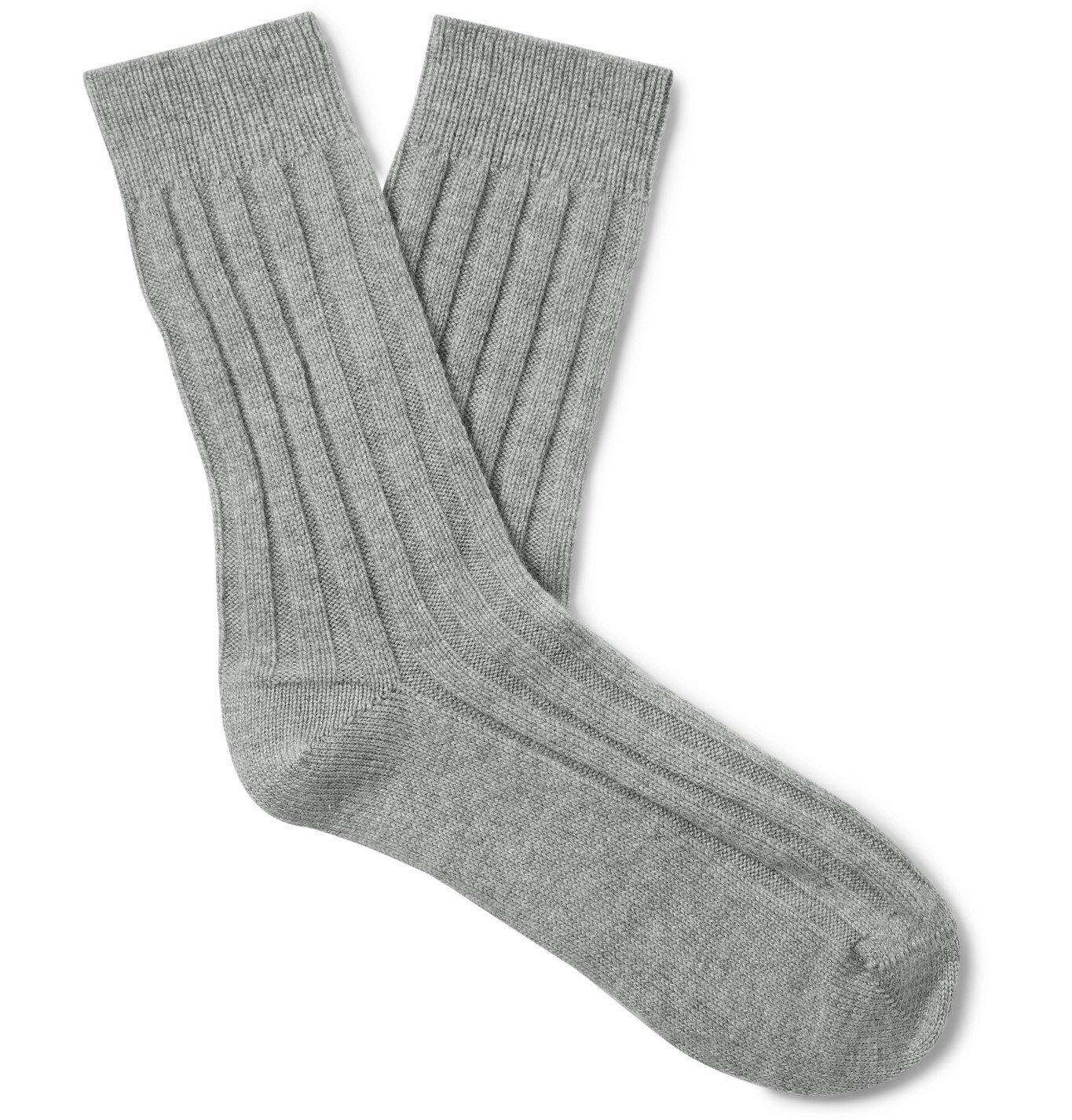 Photo: Johnstons of Elgin - Ribbed Cashmere Socks - Gray