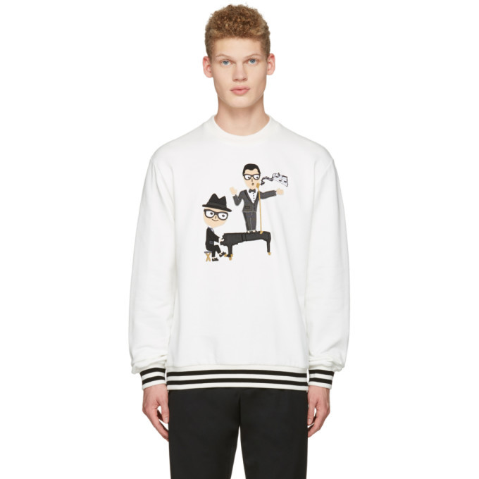 Photo: Dolce and Gabbana White Piano Singer Duo Pullover