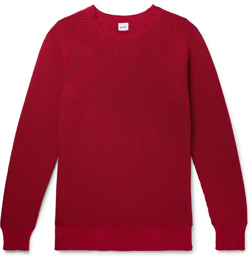 Photo: Aspesi - Slim-Fit Cotton Sweater - Red