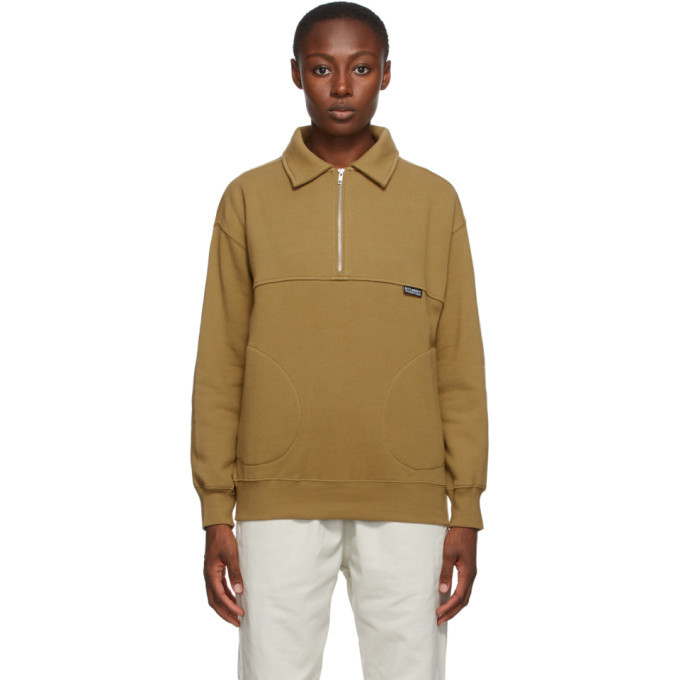 Photo: Stussy Tan Back Panels Half-Zip Sweatshirt