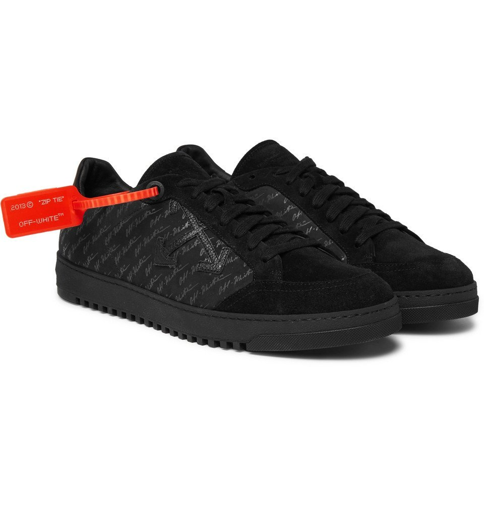 Photo: Off-White - Logo-Print Suede-Trimmed Nubuck Sneakers - Men - Black