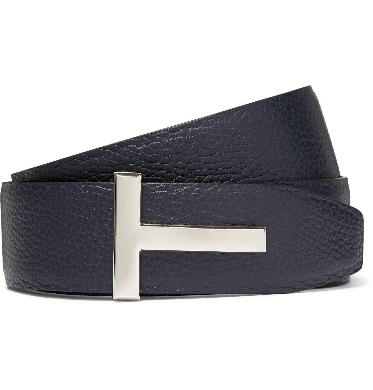 Photo: TOM FORD - 4cm Black and Navy Reversible Full-Grain Leather Belt - Blue