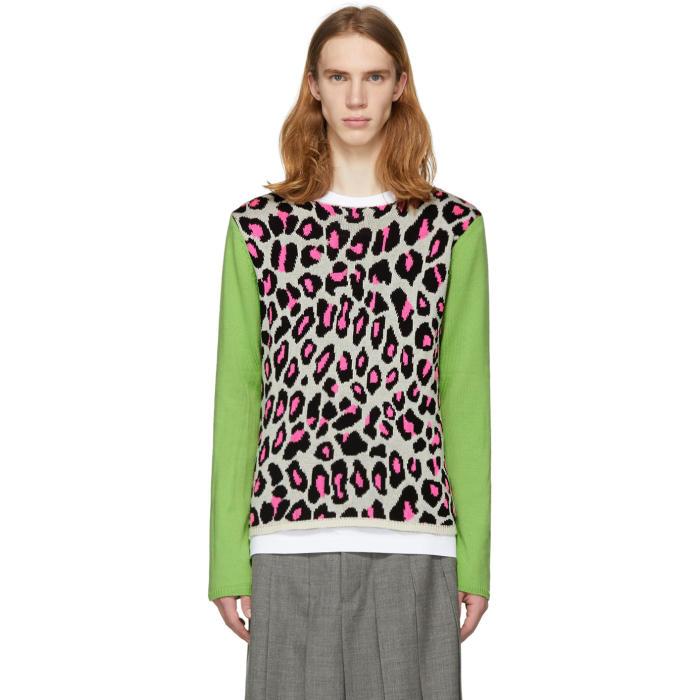 Photo: Comme des Garçons Homme Plus White and Green Knit Leopard Sweater