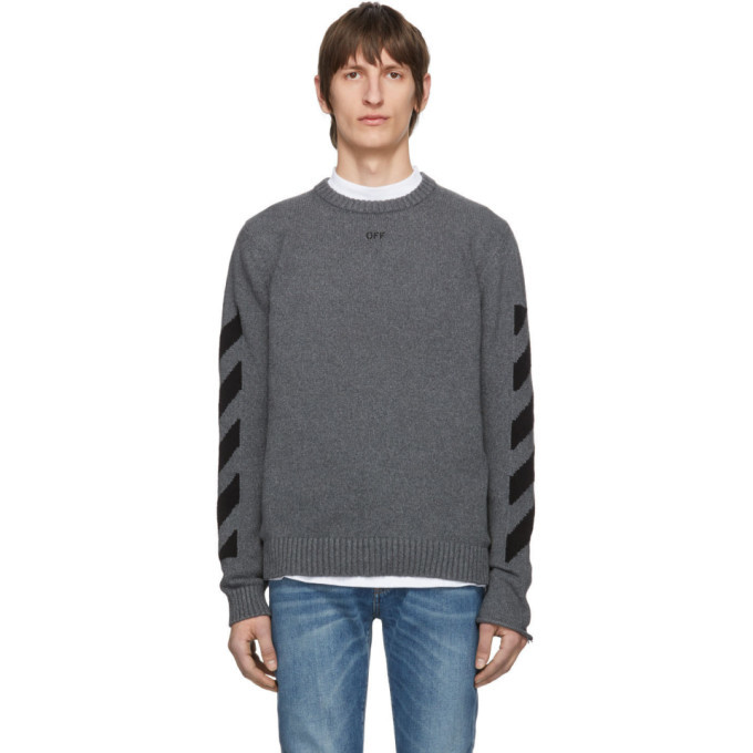 Photo: Off-White Grey Melange Arrows Sweater