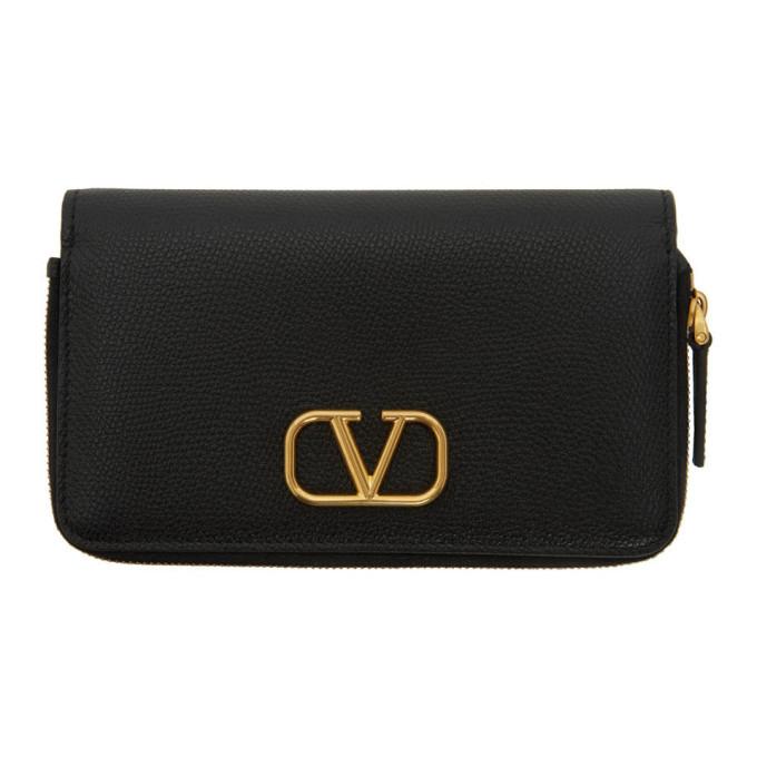 Valentino Black Valentino Garavani VLogo Phone Wallet