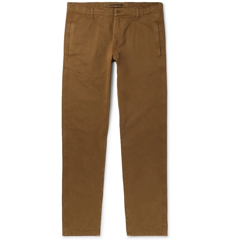 Photo: Aspesi - Tapered Garment-Dyed Cotton-Twill Trousers - Brown