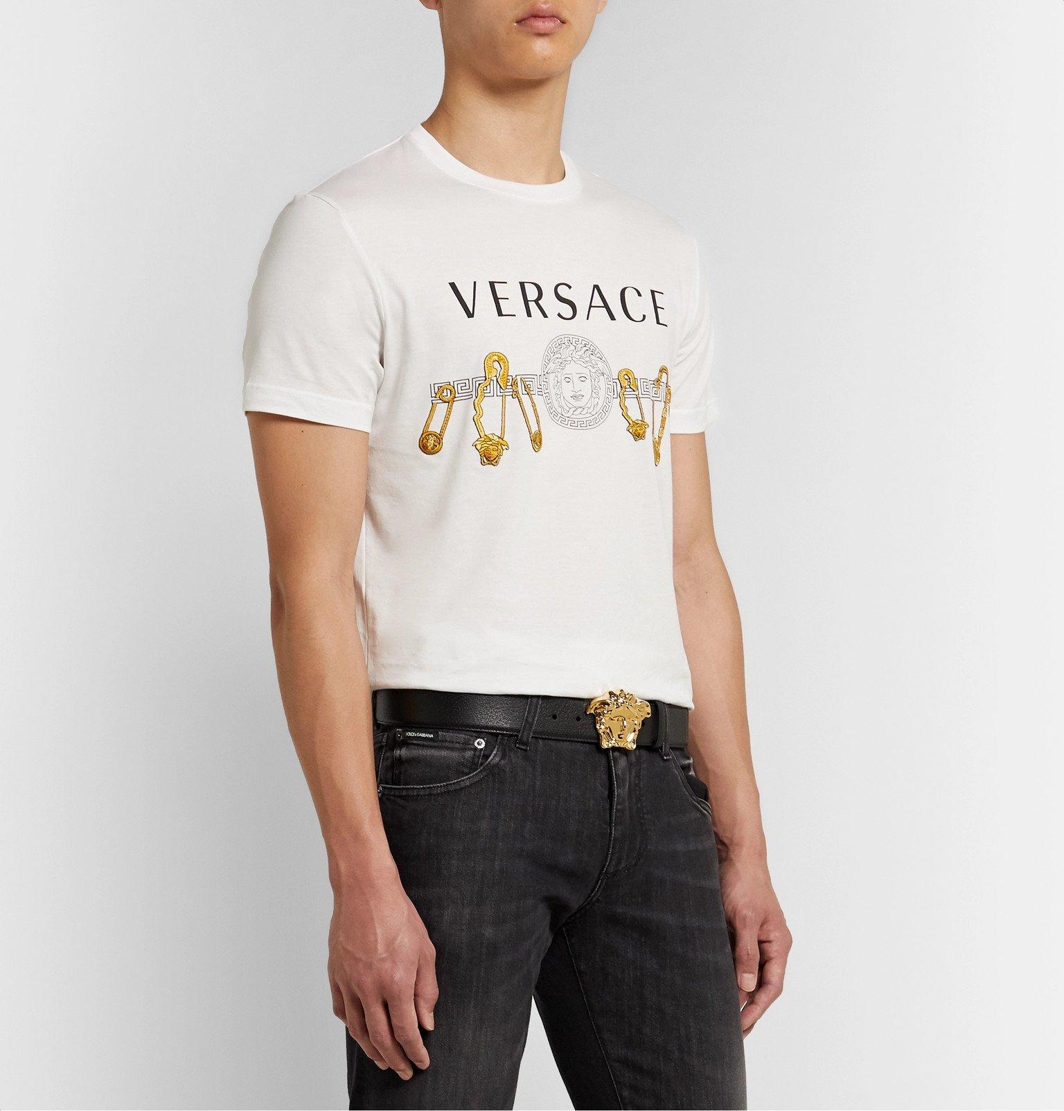 Versace - 4cm Black Full-Grain Leather Belt - Black