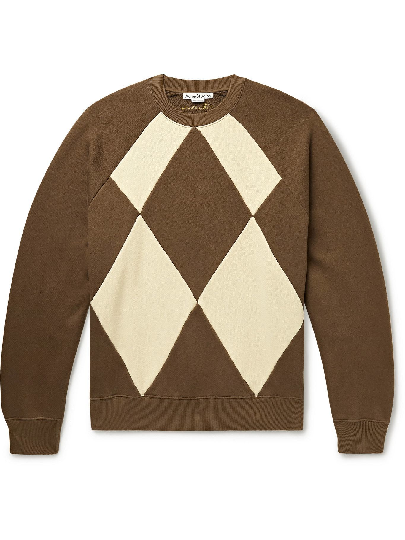 Photo: Acne Studios - Oversized Panelled Cotton-Blend Jersey and Faux Suede Sweatshirt - Brown