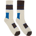Sacai Brown Horizontal Stripe Socks