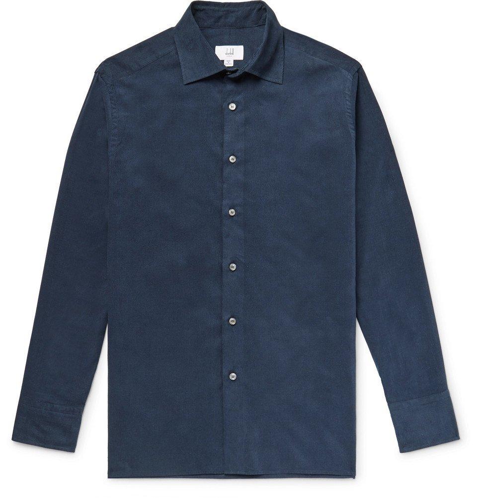 Dunhill - Cotton-Corduroy Shirt - Men - Storm blue