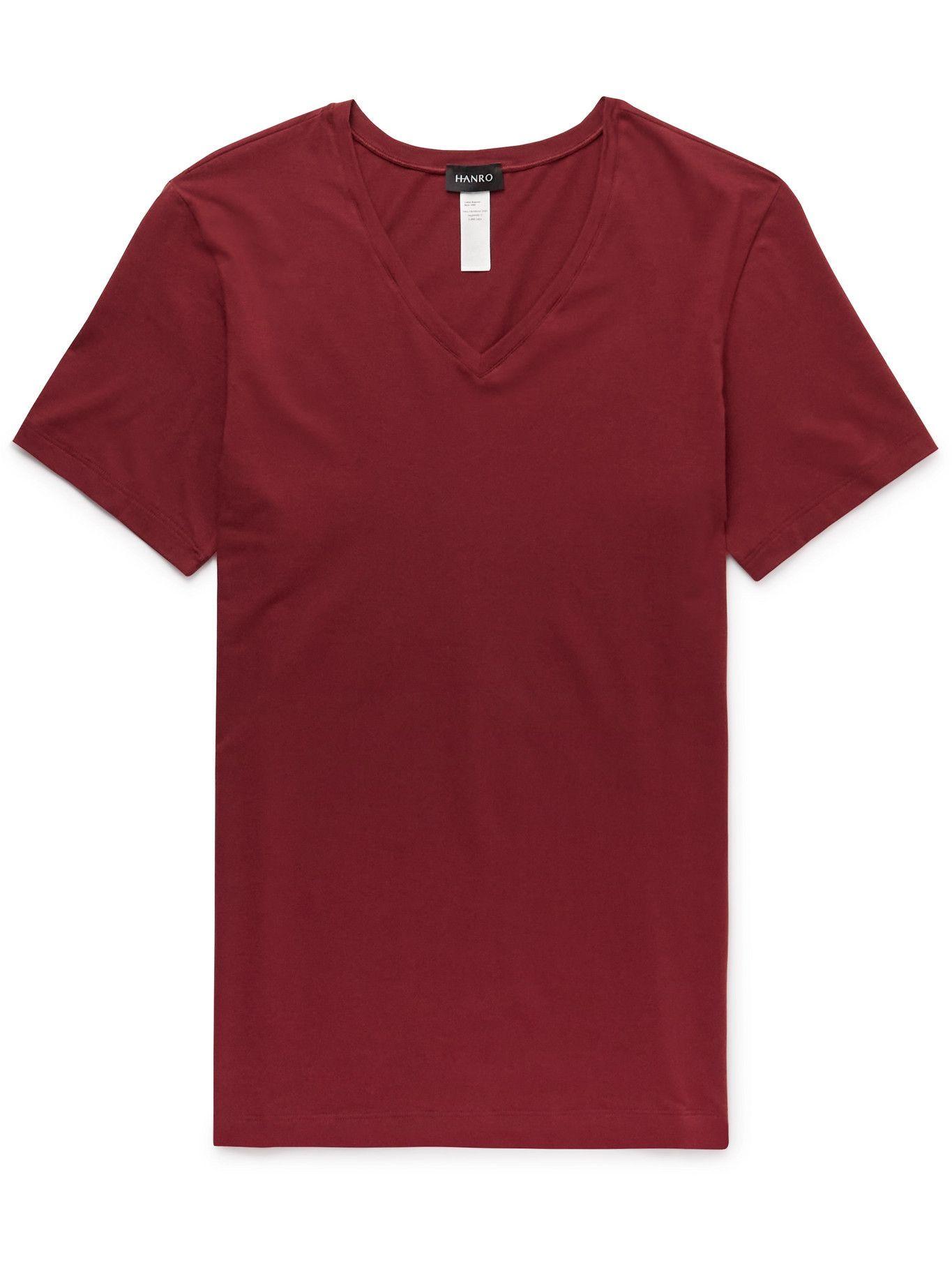 Hanro - Mercerised Cotton-Blend V-Neck T-Shirt - Red