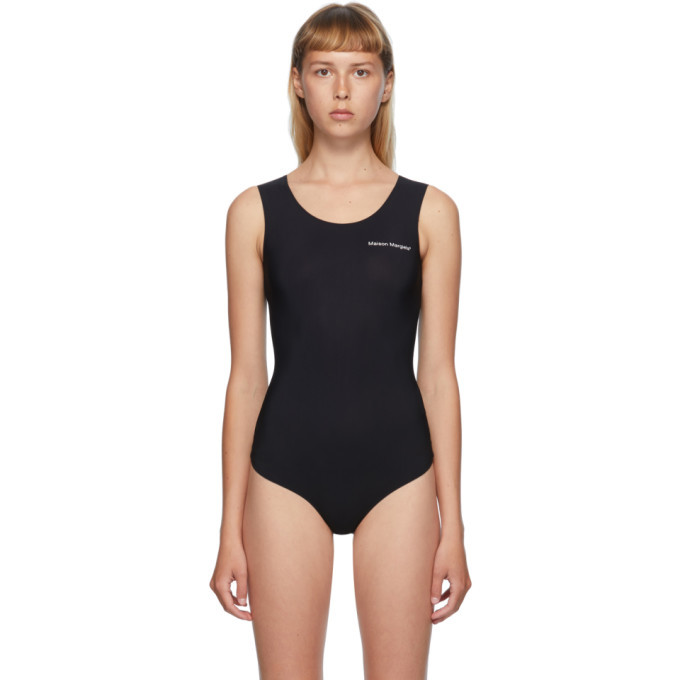 Photo: MM6 Maison Margiela Black Sleeveless Logo Printed Bodysuit