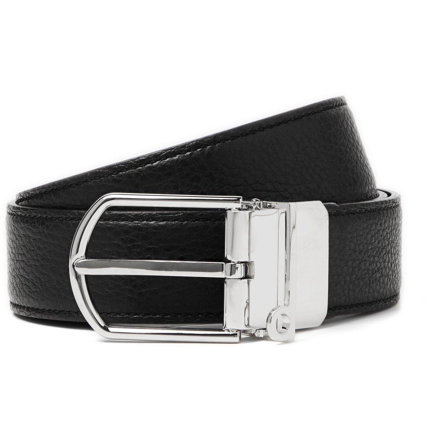 Photo: Dunhill - 3cm Reversible Smooth and Full-Grain Leather Belt - Black