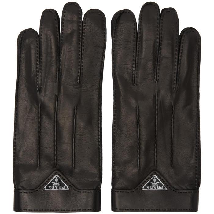 Photo: Prada Black Leather Logo Gloves