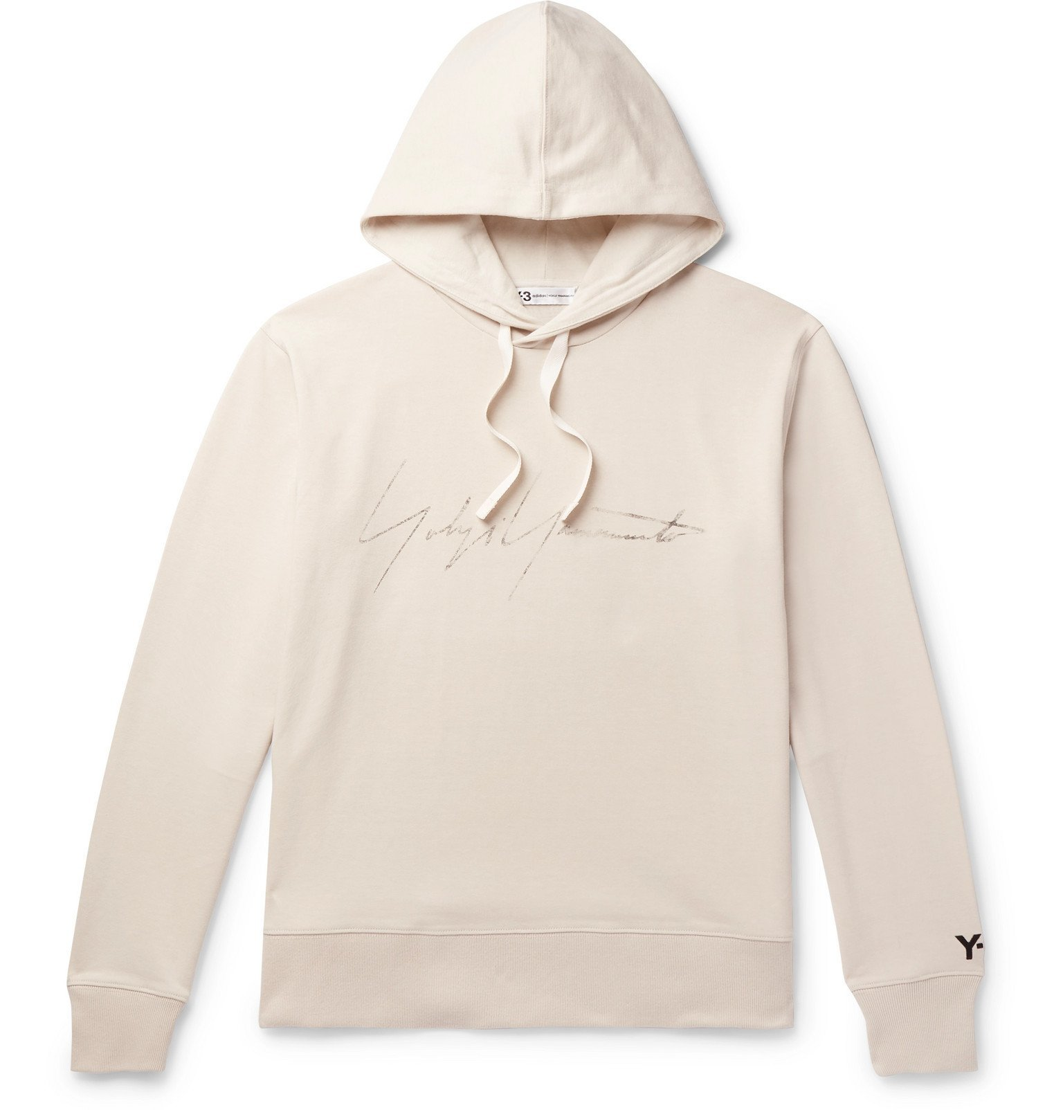 Photo: Y-3 - Distressed Logo-Print Loopback Cotton-Jersey Hoodie - Neutrals