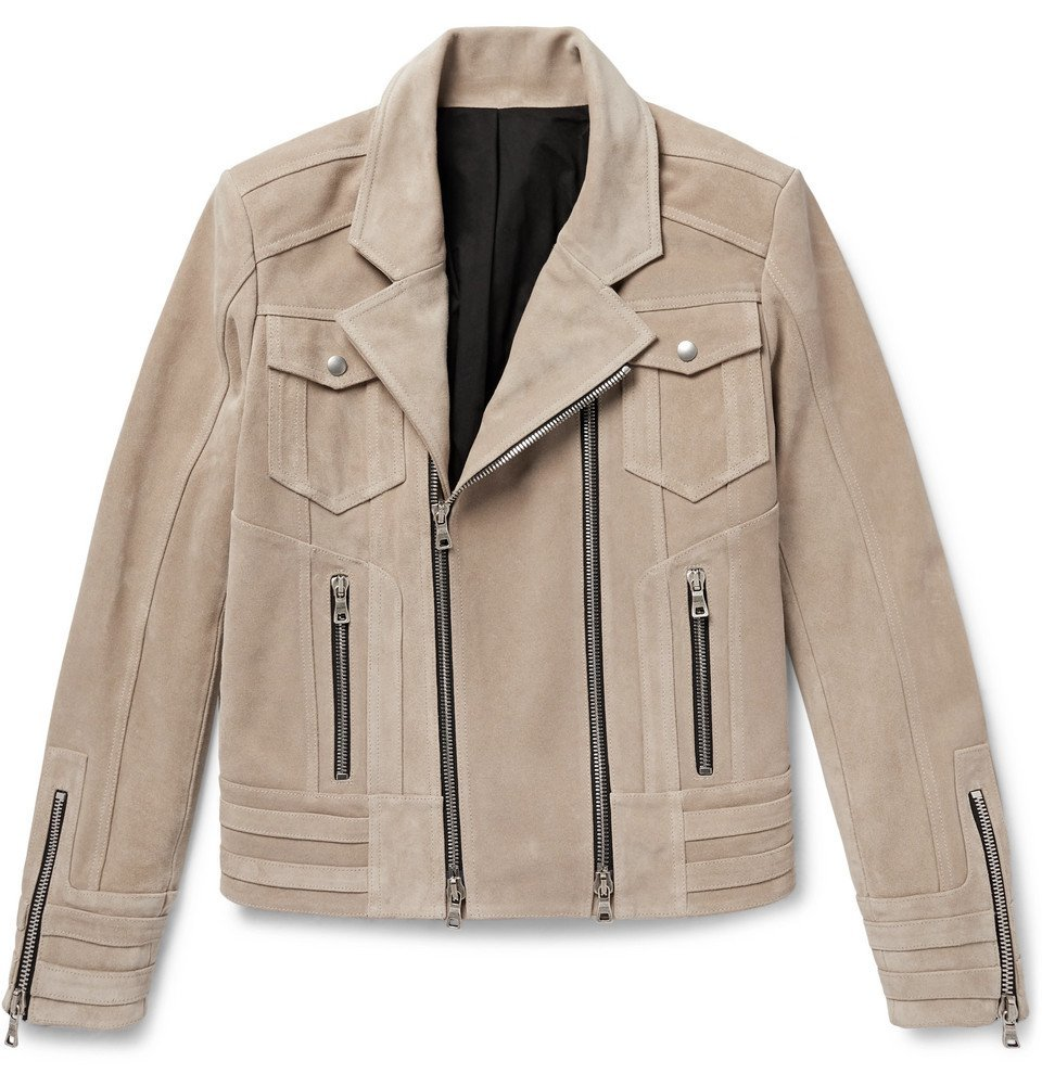 Photo: Balmain - Suede Biker Jacket - Beige