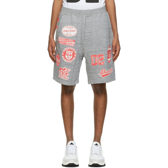 Photo: Dsquared2 Grey Relaxed Fit Printed Shorts