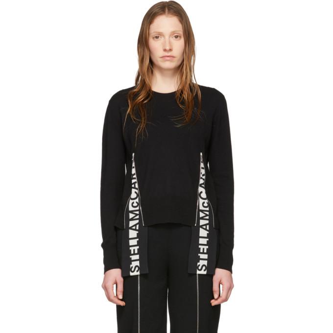Stella McCartney Black Wool Logo Band Crewneck Sweater