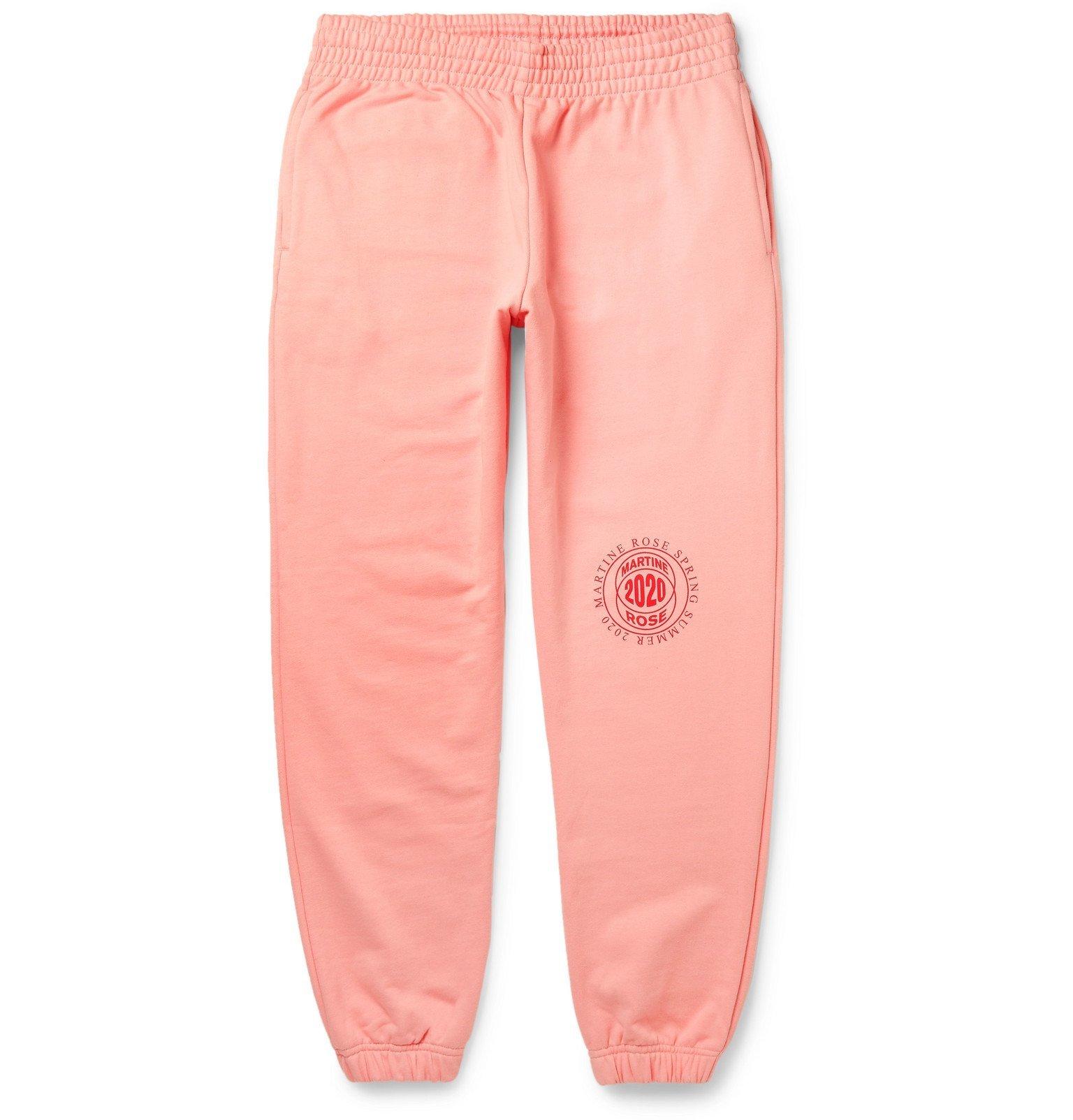 Martine Rose - Tapered Logo-Print Loopback Cotton-Jersey Sweatpants - Pink