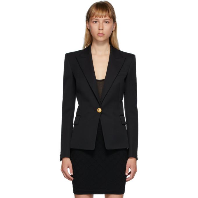 Photo: Balmain Black Wool Single-Button Blazer