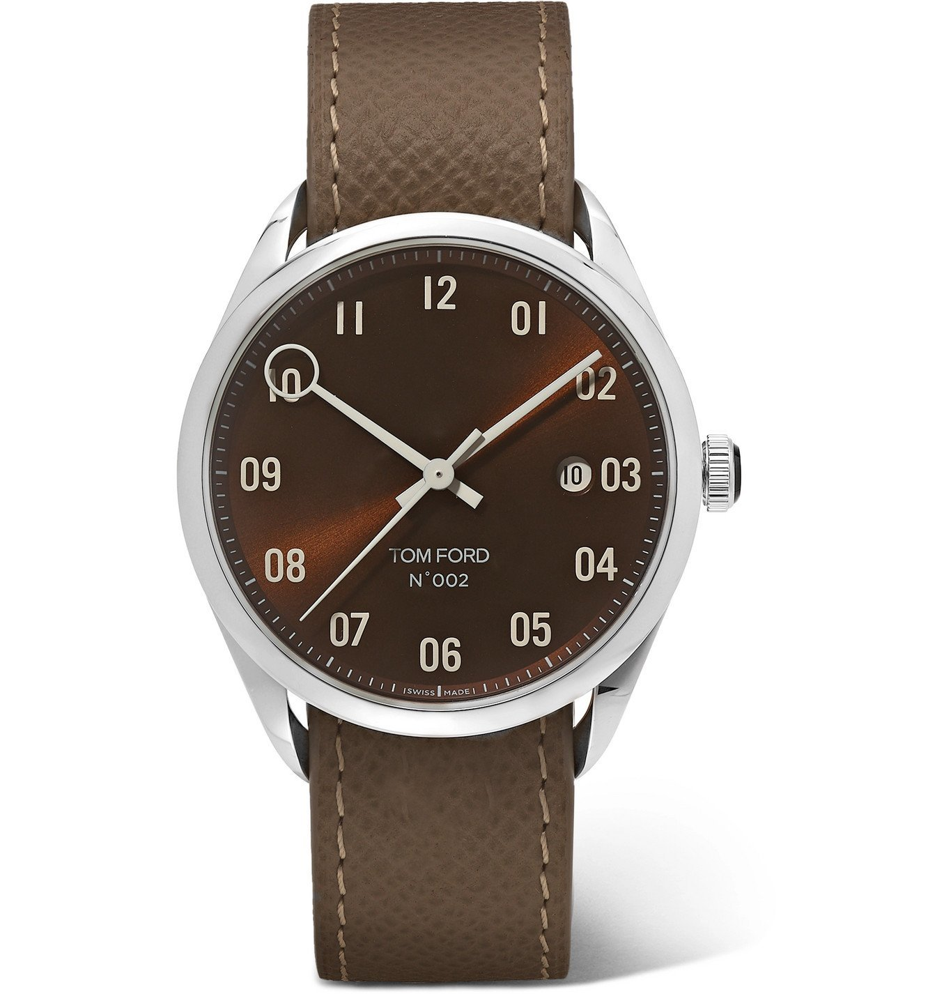 Photo: Tom Ford Timepieces - 002 40mm Stainless Steel and Pebble-Grain Leather Watch - Brown