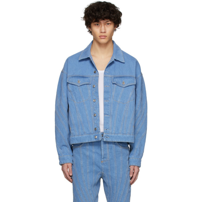 Photo: Mugler SSENSE Exclusive Blue Denim Oversized Jacket
