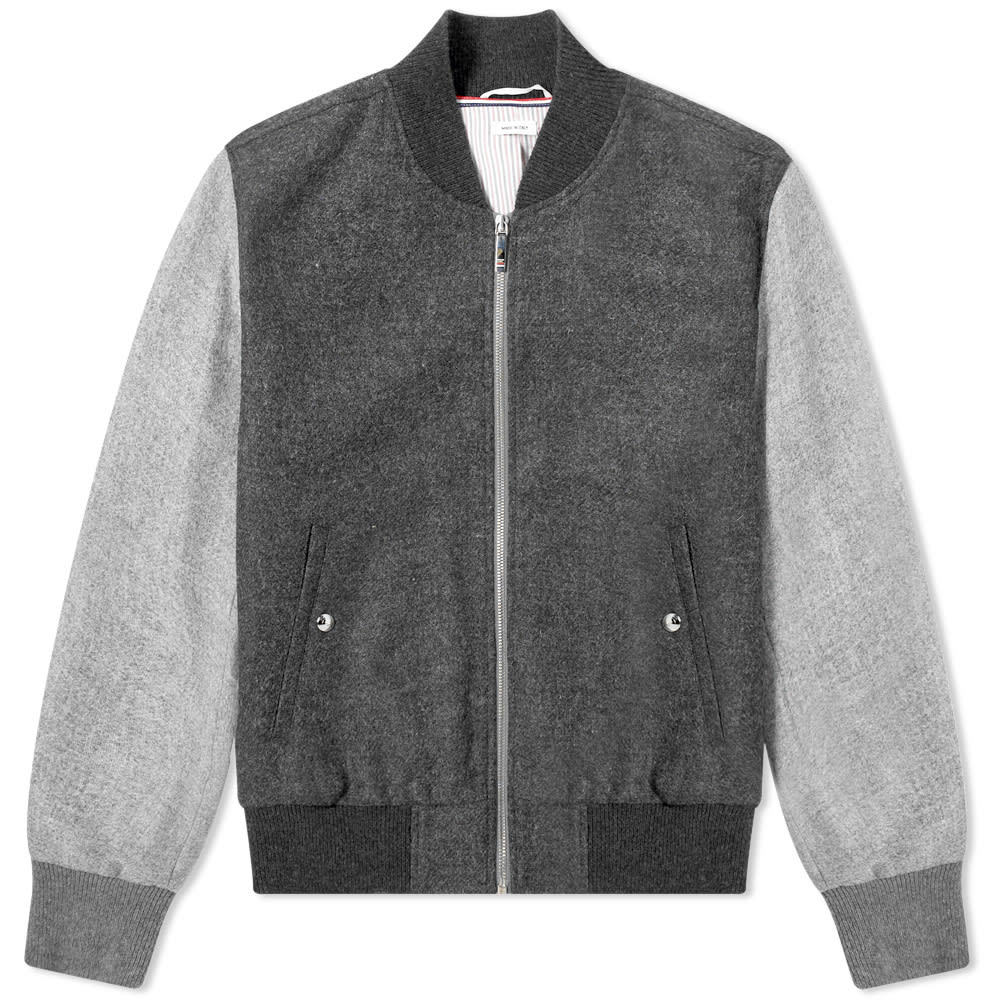Photo: Thom Browne Contrast Shetland Bomber Jacket