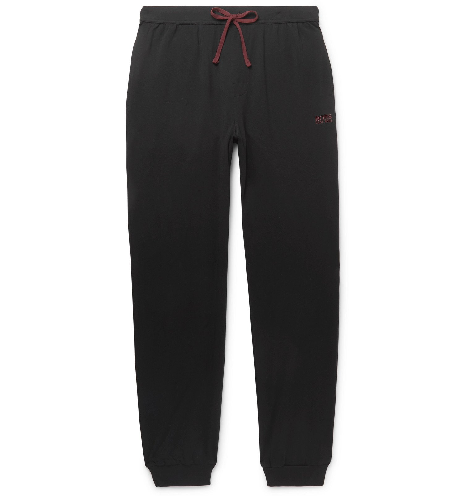 Photo: Hugo Boss - Tapered Stretch-Cotton Jersey Sweatpants - Black