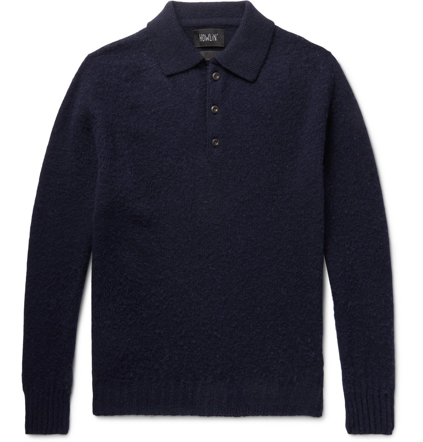 Photo: Howlin' - Ghost Pressure Brushed-Wool Polo Shirt - Blue
