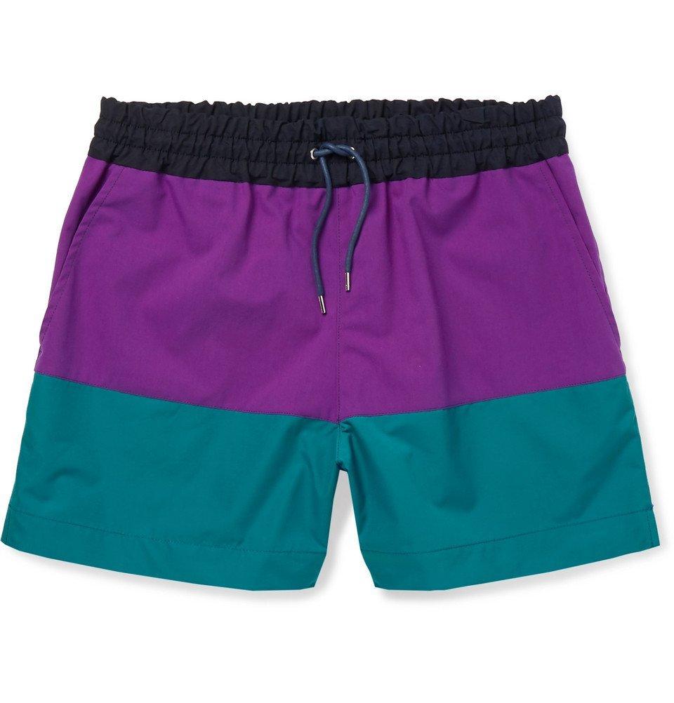 Sacai - Colour-Block Shell Shorts - Men - Purple