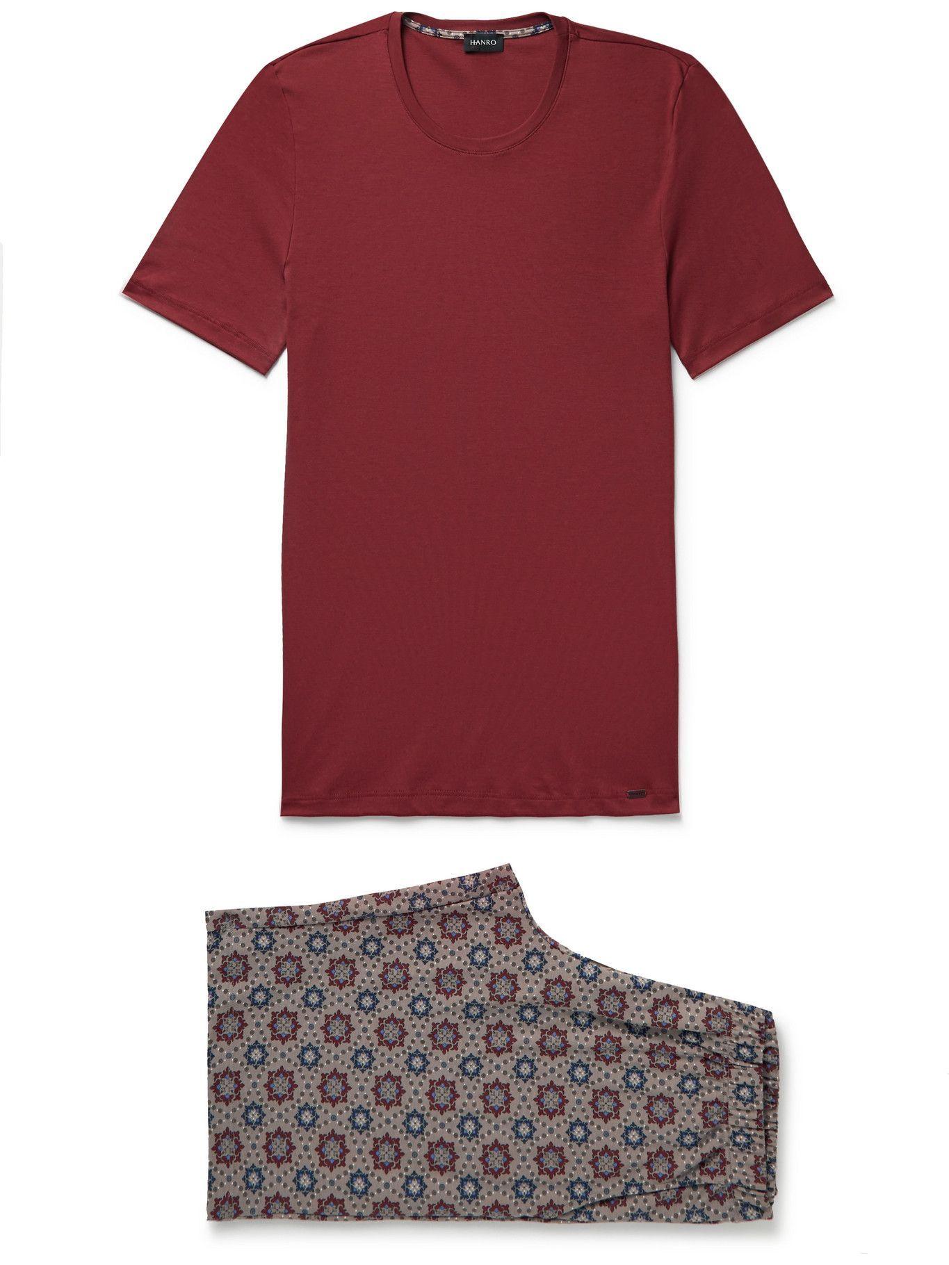 Photo: Hanro - Night & Day Printed Cotton-Jersey Pyjama Set - Burgundy