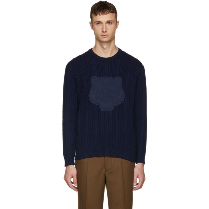 Photo: Kenzo Navy Tiger Cable Knit Crewneck Sweater