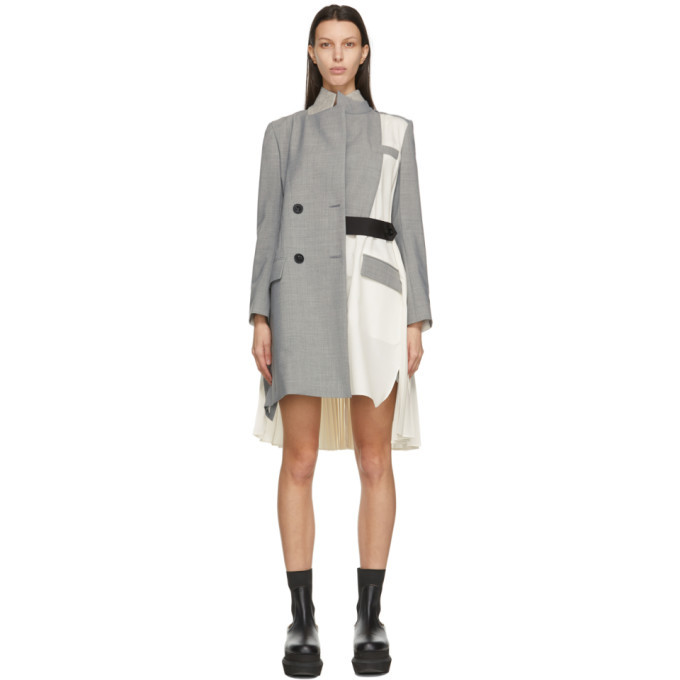 Sacai Grey and Off-White Suiting Coat