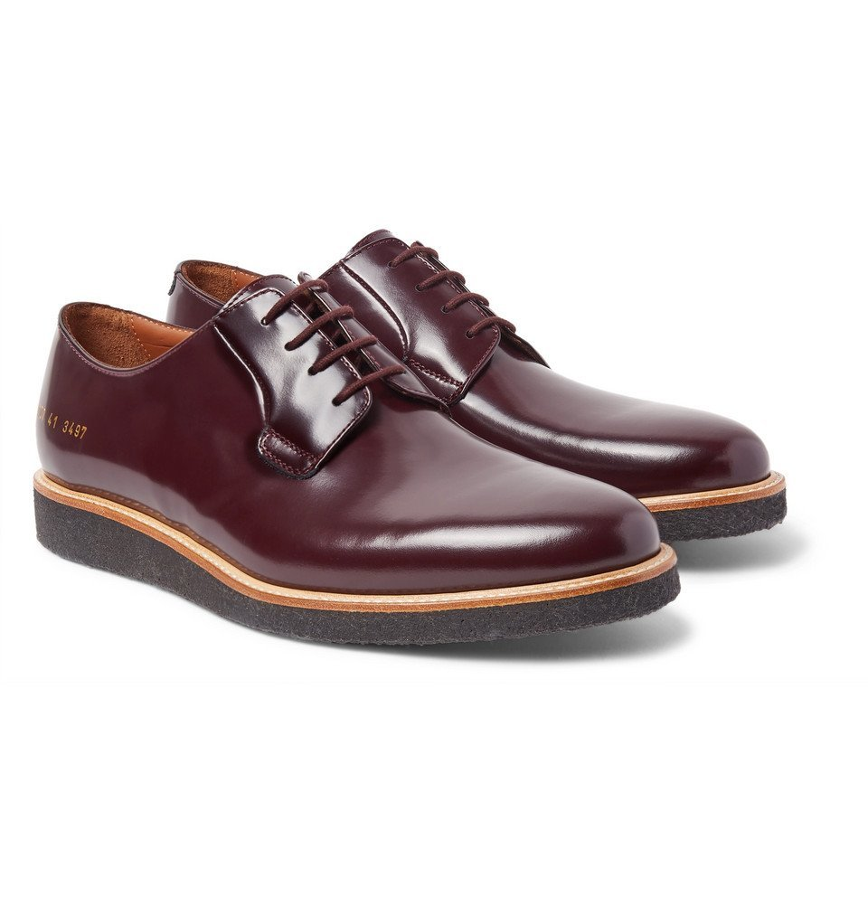 Common Projects - Polished-Leather Derby Shoes - Men - Burgundy