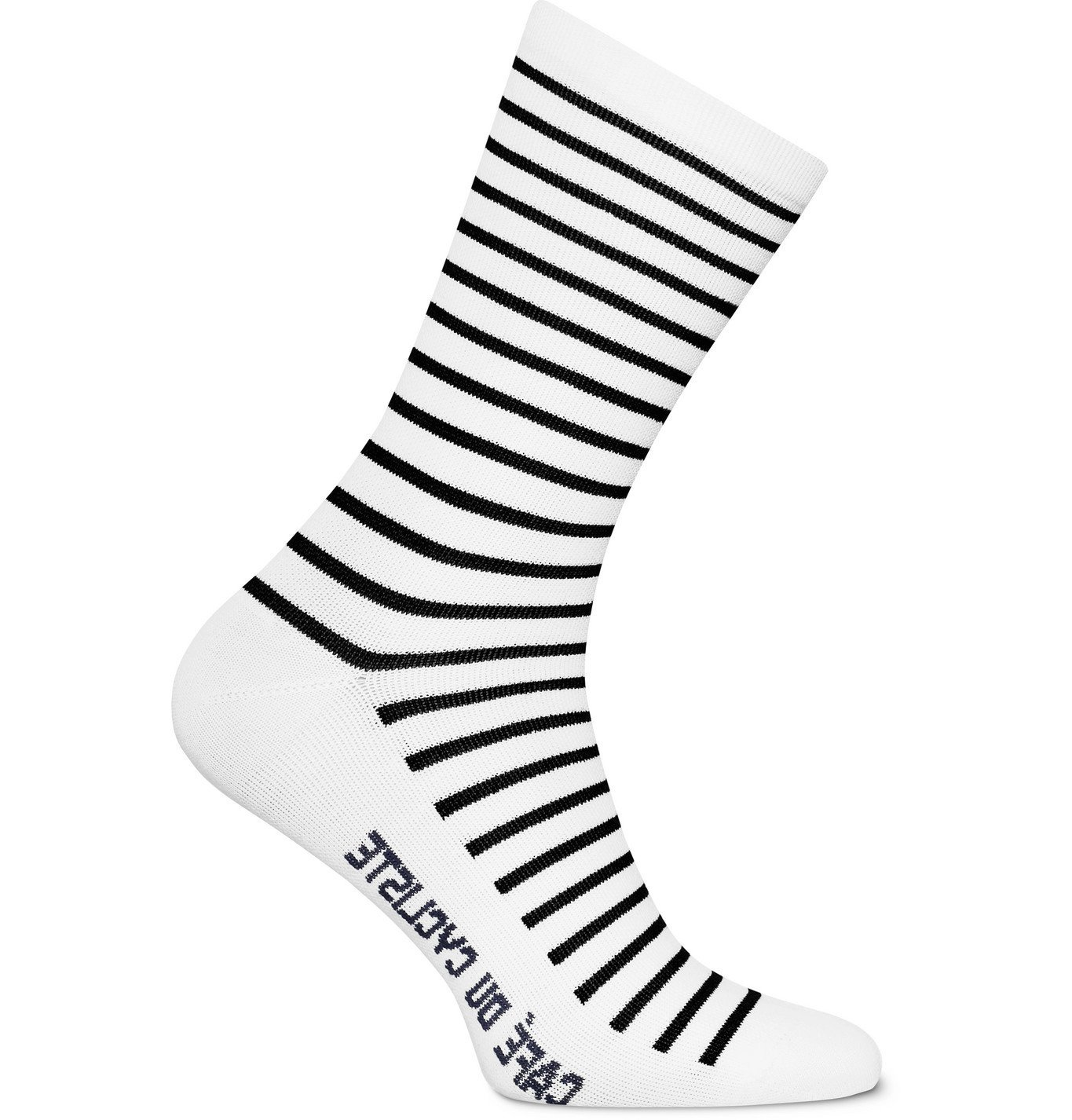 Photo: Cafe du Cycliste - Striped Merino Wool-Blend Cycling Socks - White