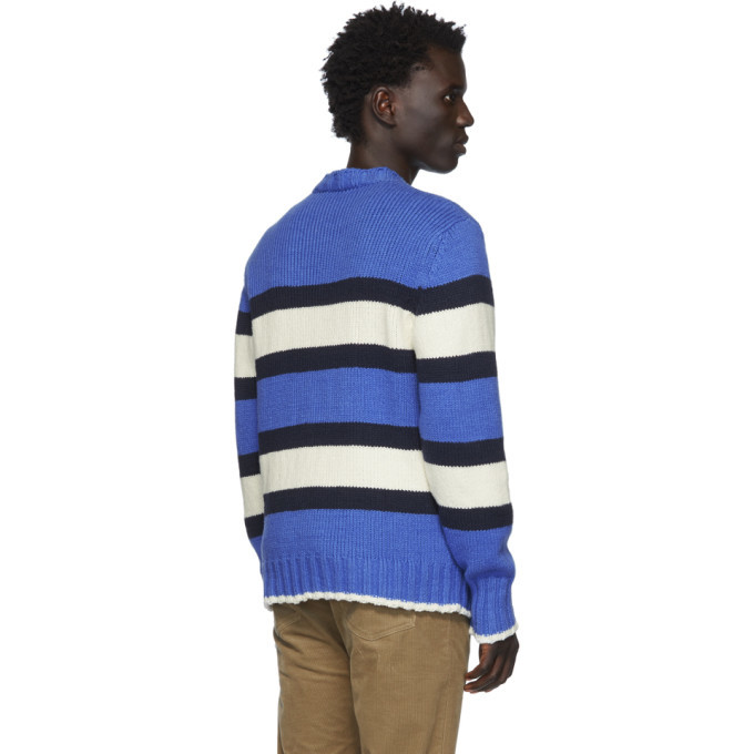 Officine Generale Blue and White Striped Ribbed Sweater