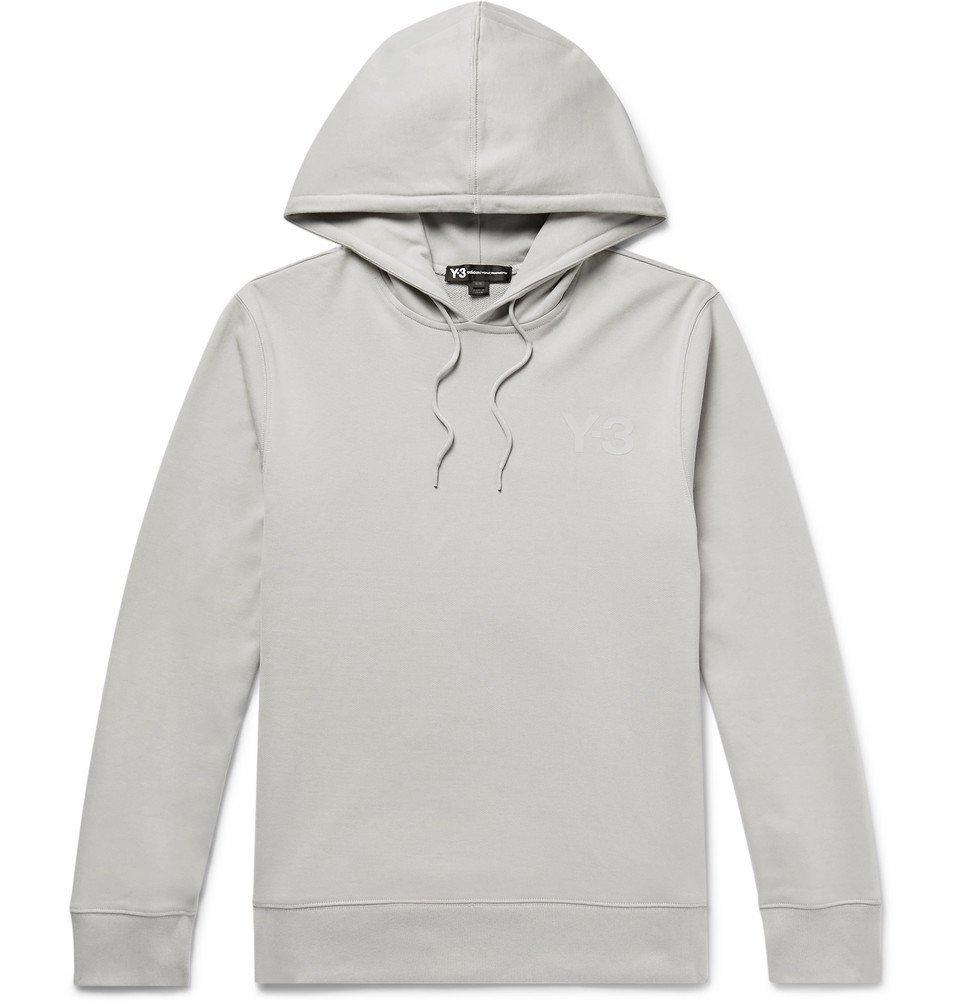 Y-3 - Logo-Print Loopback Cotton-Jersey Hoodie - Light gray