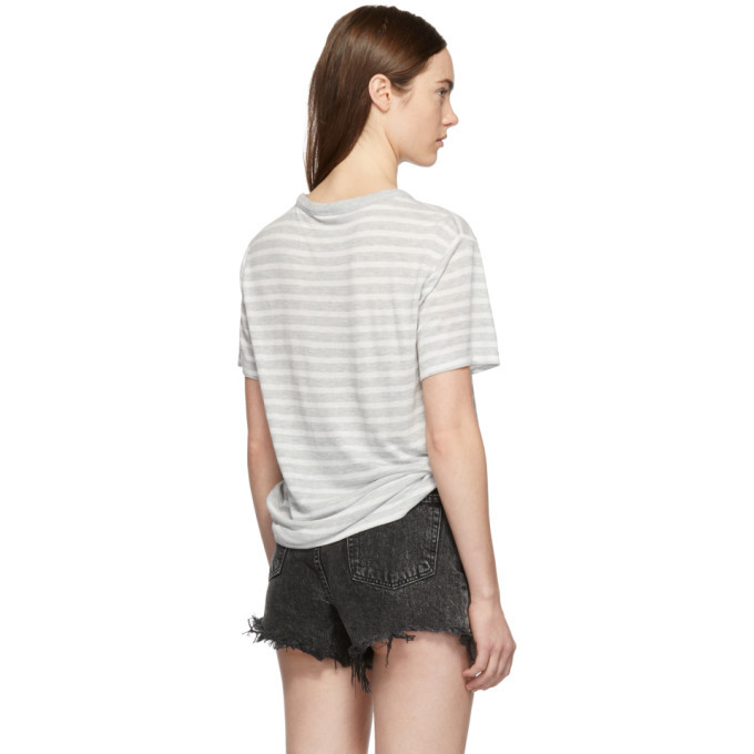 alexanderwang.t Grey and White Slub Jersey Pocket T-Shirt