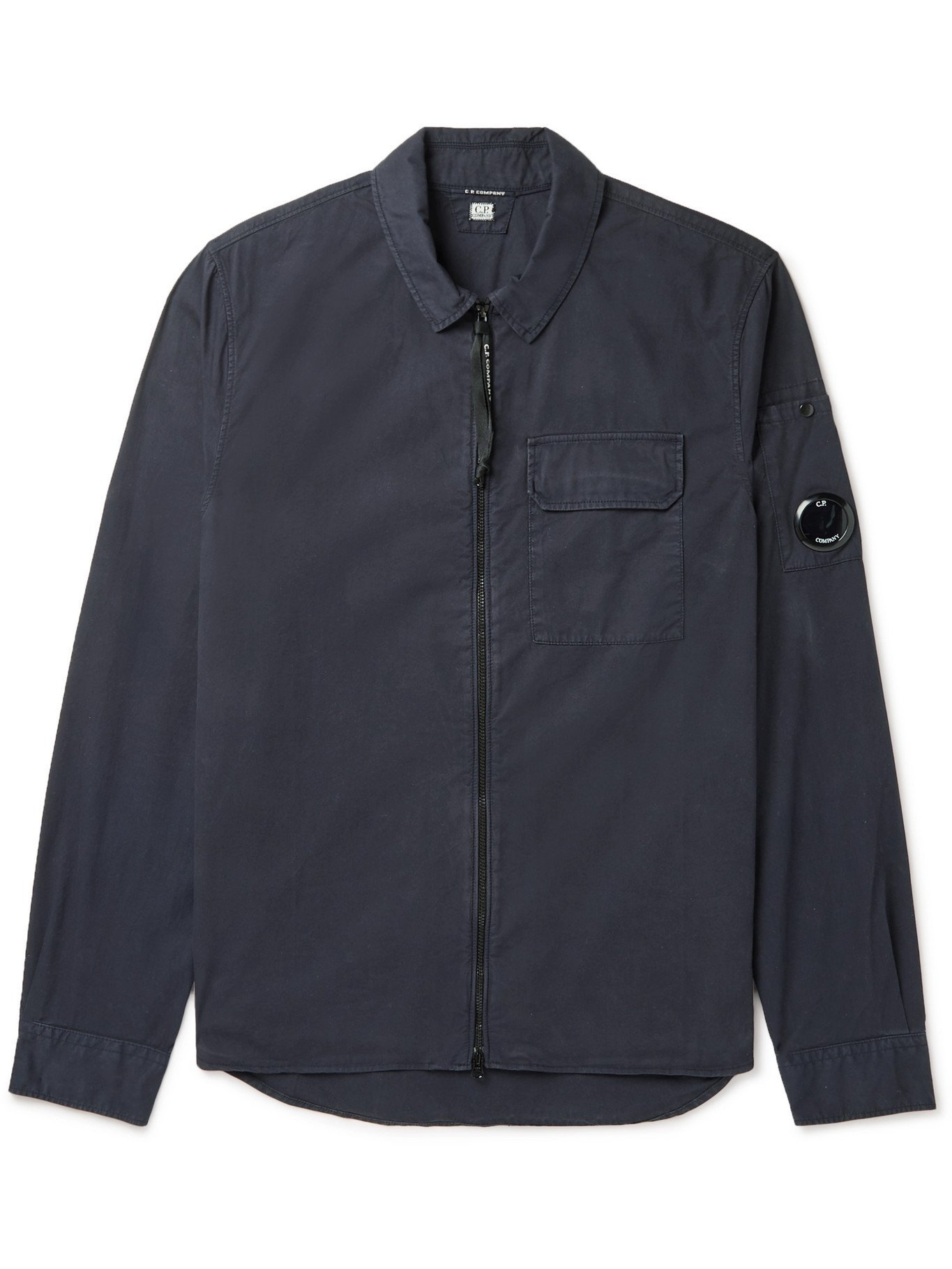 Photo: C.P. COMPANY - Slim-Fit Garment-Dyed Cotton-Gabardine Overshirt - Blue - S