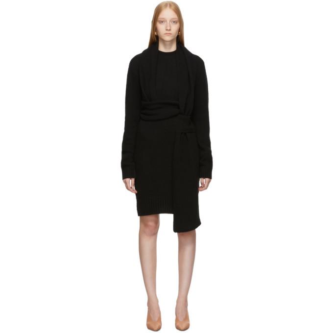 Photo: Bottega Veneta Black Twin Scarf Knit Dress