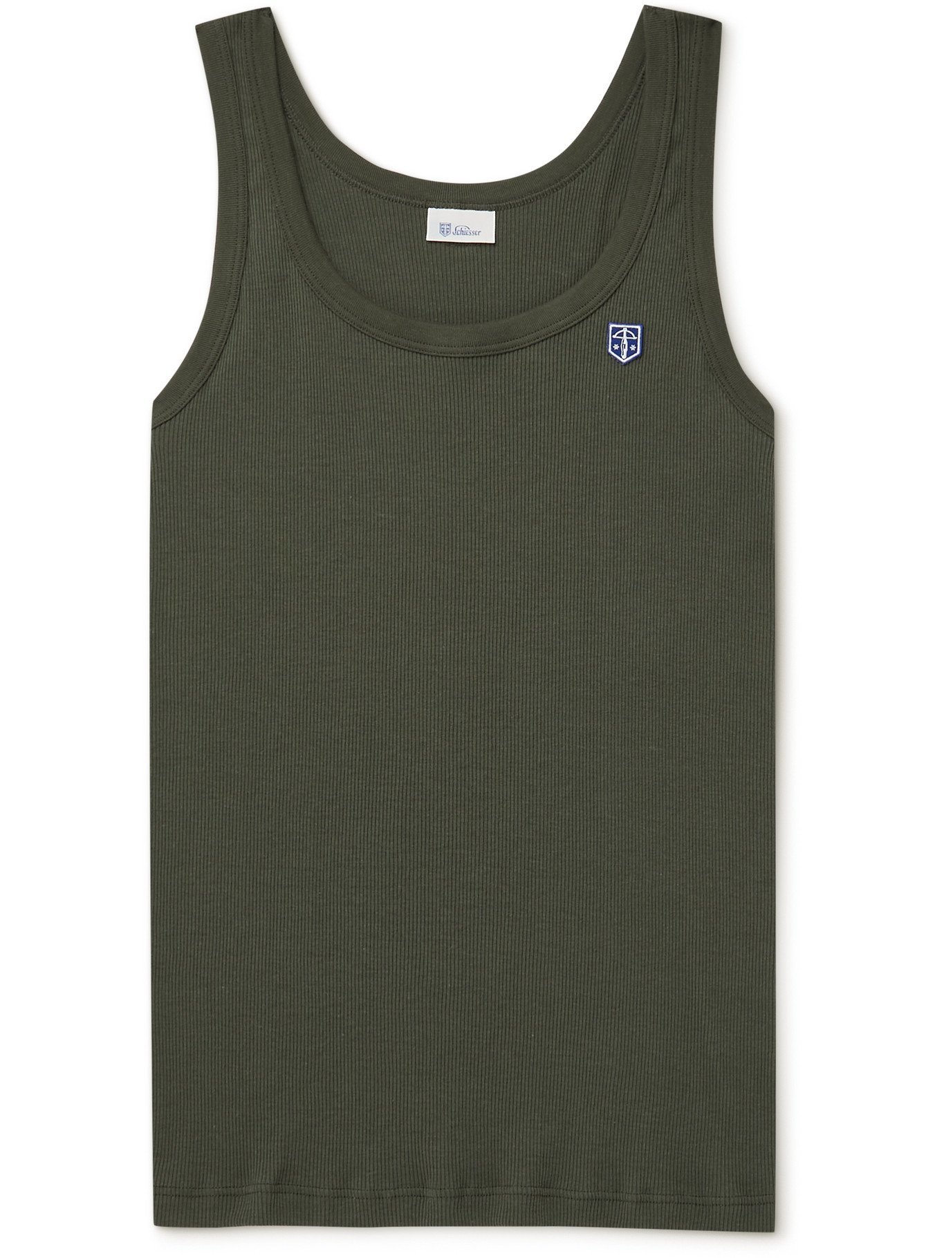 SCHIESSER - Friedrich Logo-Appliquéd Ribbed Cotton-Jersey Tank Top - Green
