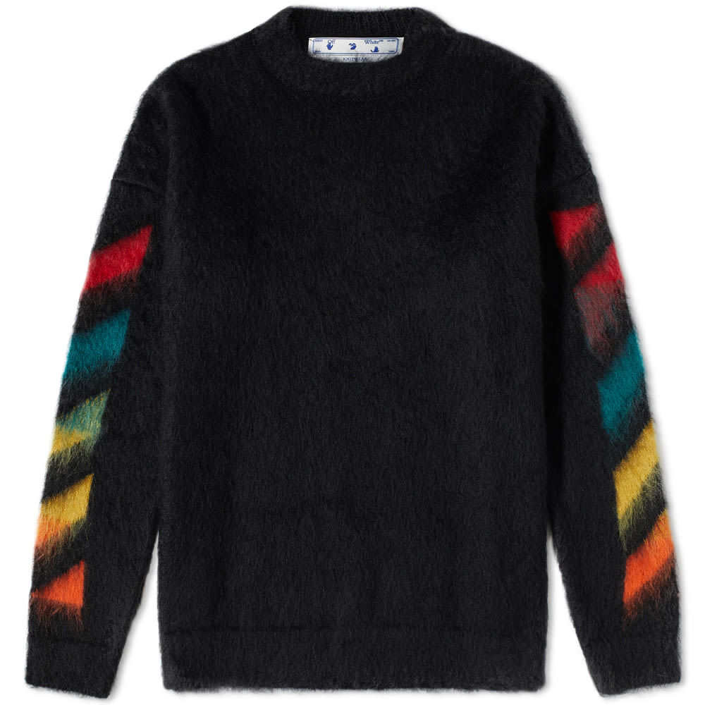 Photo: Off-White Diagonal Brushed Mohair Knit