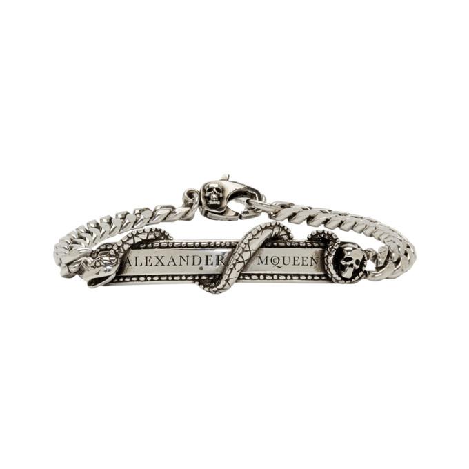 Photo: Alexander McQueen Silver Snake and Skull Bracelet