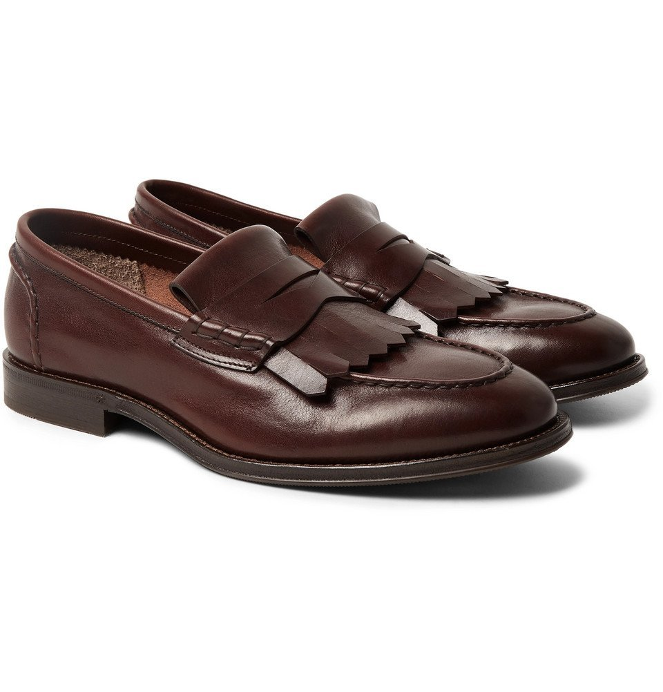 Photo: Brunello Cucinelli - Leather Kiltie Loafers - Dark brown