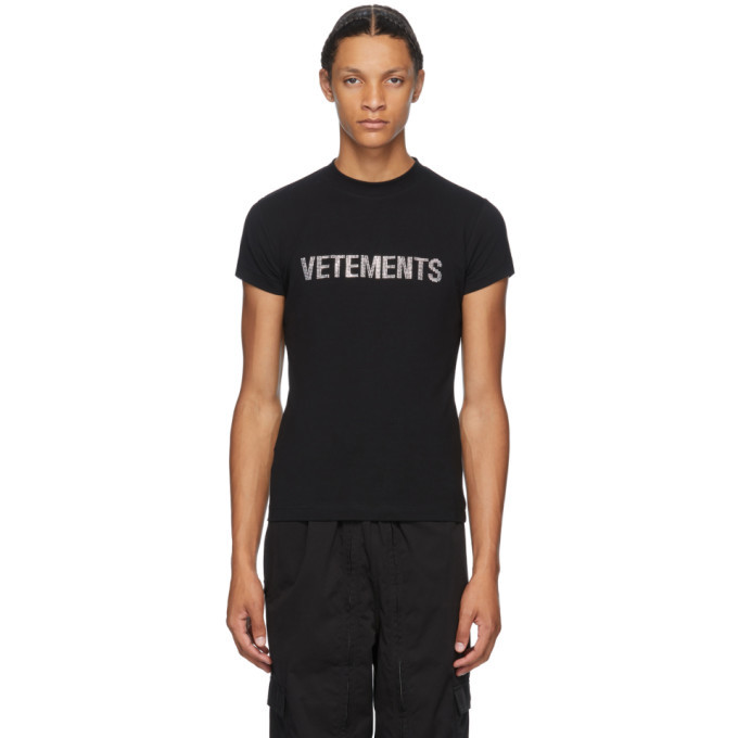 Photo: VETEMENTS Black Rhinestone Logo T-Shirt