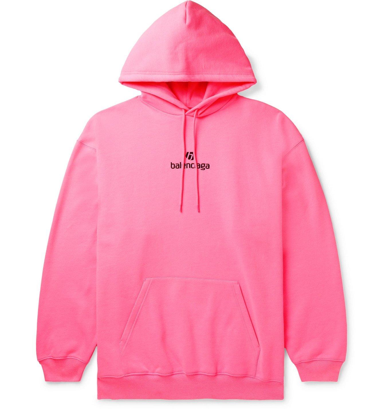 Photo: Balenciaga - Logo-Embroidered Fleece-Back Cotton-Jersey Hoodie - Pink