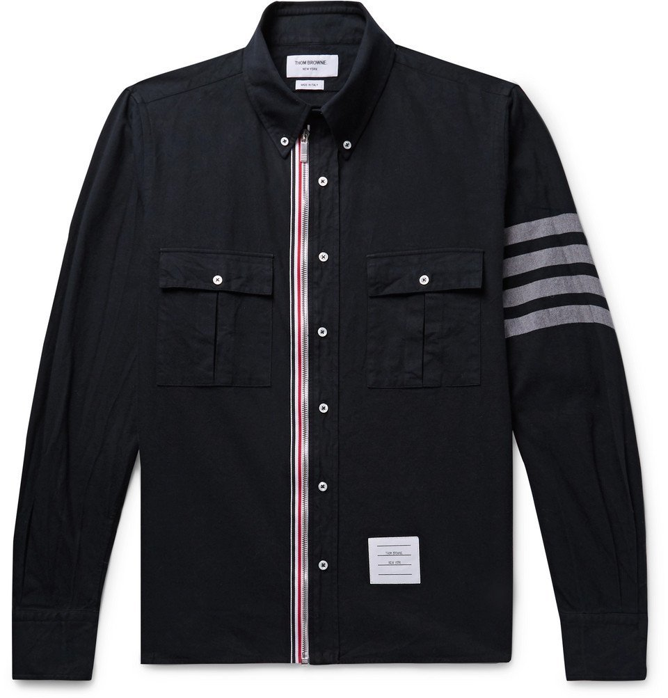 Photo: Thom Browne - Button-Down Collar Grosgrain-Trimmed Cotton-Twill Zip-Up Shirt - Navy