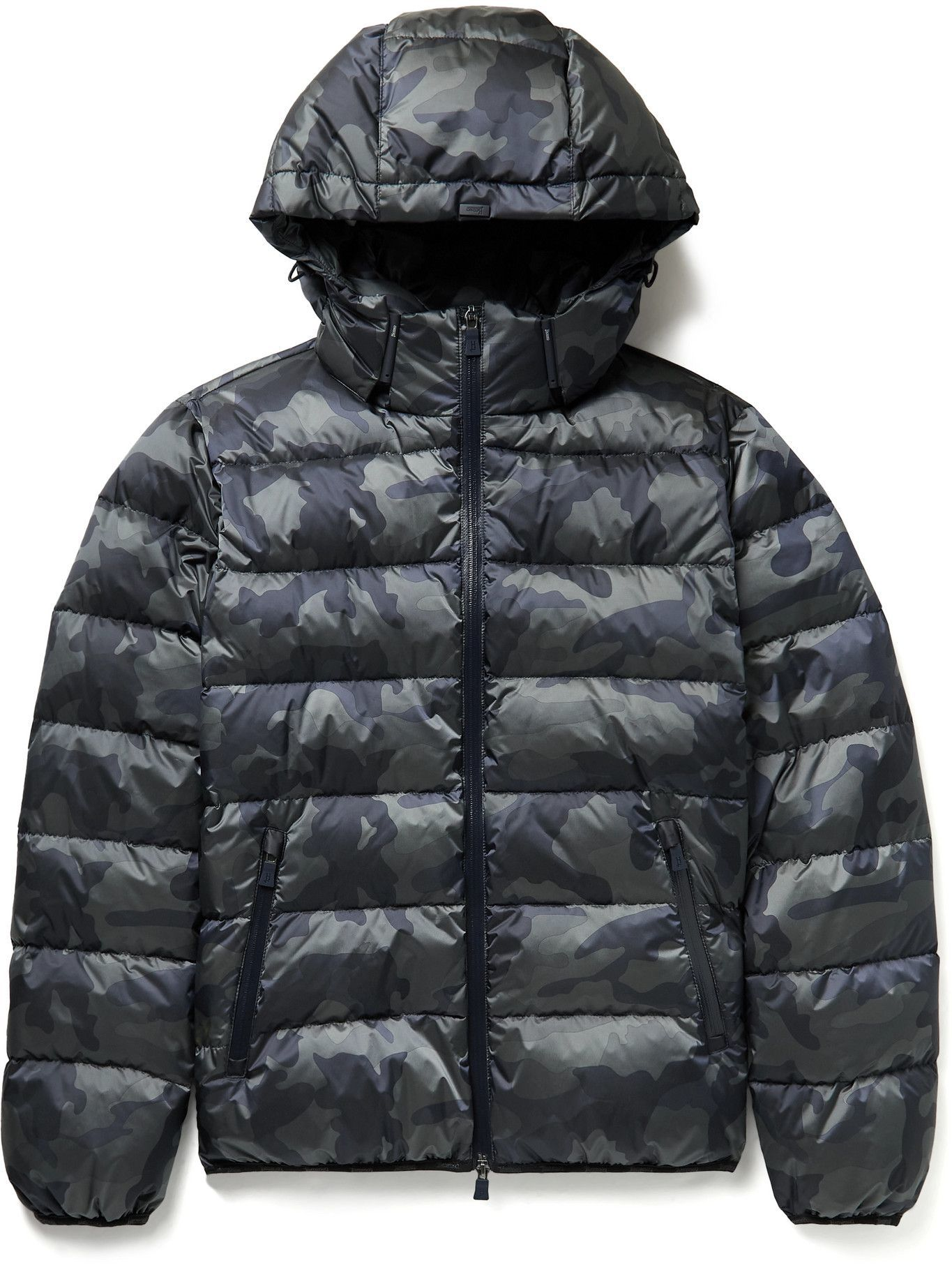 Photo: Herno Laminar - Alveo Quilted Camouflage-Print Shell Down Hooded Jacket - Blue