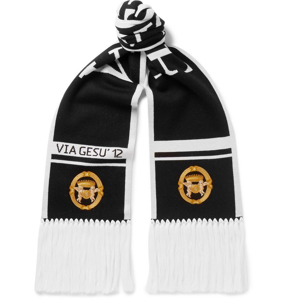 Photo: Versace - Fringed Logo-Intarsia Wool Scarf - Men - Black